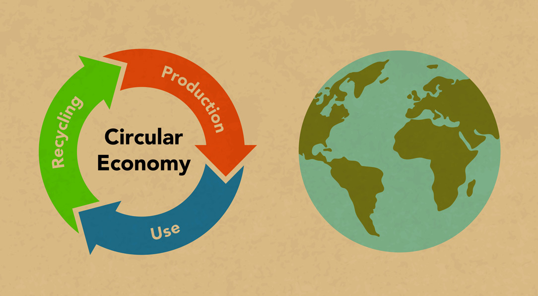 Circular economy recycling figures and Earth, Kraft paper texture background