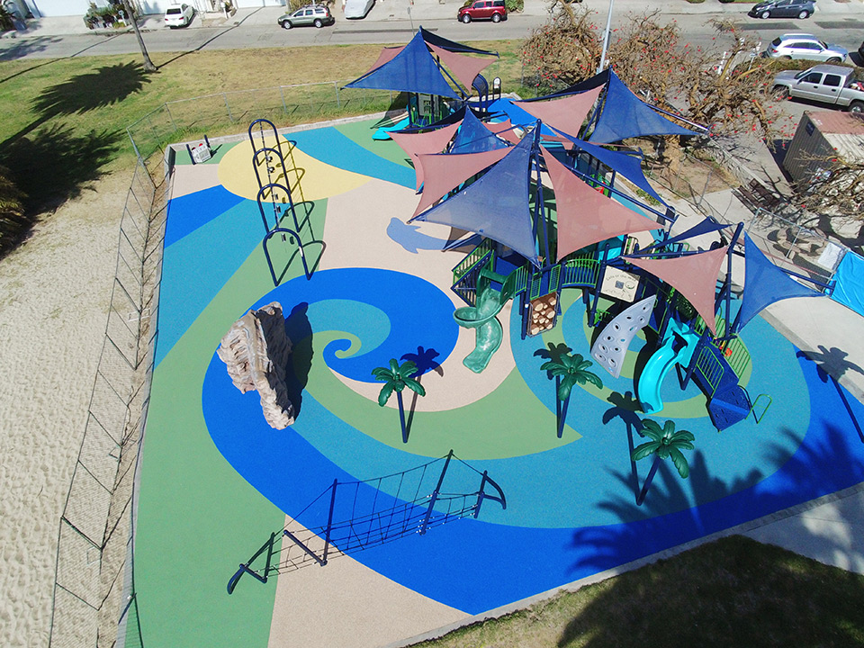 Aerial view of the Del Rey Lagoon Park